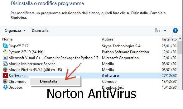 Disinstallare Norton
