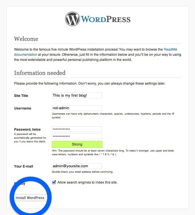 Istallare wordpress step 7