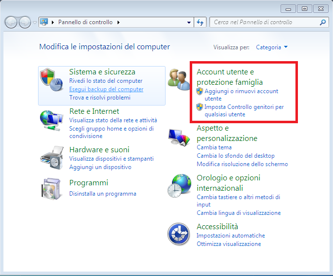 Eliminare account utente su windows 7