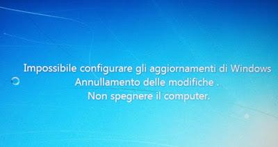 impossibile configurare aggiornamenti non spegnere computer